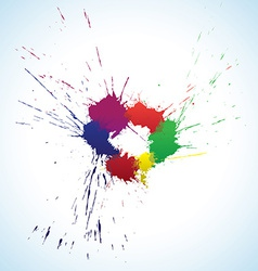 Colorful ink blots ring vector image vector image