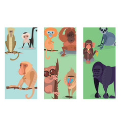Different breads monkey print cards character vector