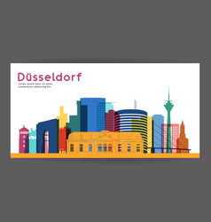 Dusseldorf colorful architecture vector