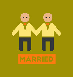 Flat icon on stylish background gay newlyweds vector