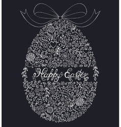 Floral easter egg on black background vector