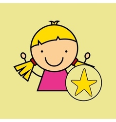Girl happy cartoon yellow star vector