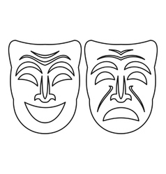 Happy and sad mask icon outline style vector