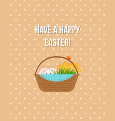happy easter beige greeting card vector image vector image