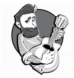 Hipster with a guitar male character vector
