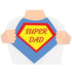 man open shirt super dad hero vector image vector image