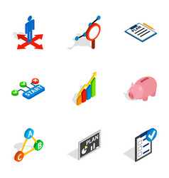 management icons isometric 3d style vector image vector image