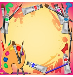 paint tubes and brushes vector image vector image