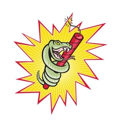 Rattle snake coiling dynamite cartoon vector