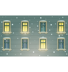 Retro Building Facade At Winter Night vector image vector image