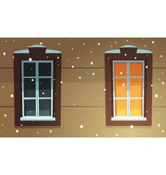 Retro Windows in Snow vector image