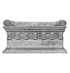 Sarcophagus of scipio vintage vector