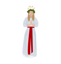 Scandinavian tradition saint lucys vector