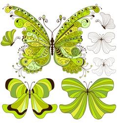 Set green vintage butterflies vector image
