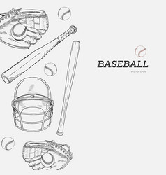 set of baseball hand draw sketch vector image vector image