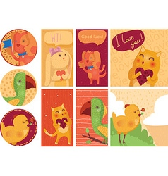 Set of cute cards with home animals isolated on vector