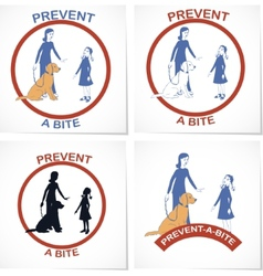 Set of four symbols for prevent a bite action vector