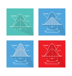Set of standard normal distribution curve chart vector