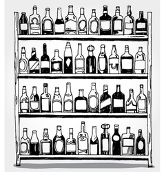 Shelf full of bottles hand drawn vector