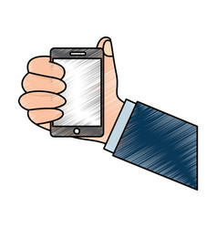 smartphone hand holding icon image vector image