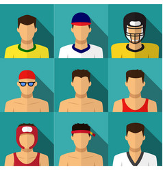 Sport men icons in flat style with long shadow vector