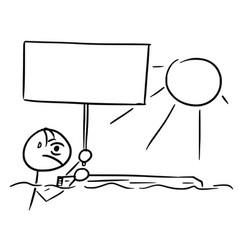 stick man cartoon of shipwreck survivor castaway vector image vector image