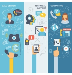 Support Call Center Banner vector image vector image