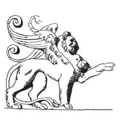 Winged lion is shown on the tomb of loys de vector