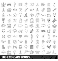 100 eco care icons set outline style vector
