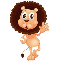 A lion waving his left hand vector image
