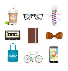 Realistic hipster style icon color set vector