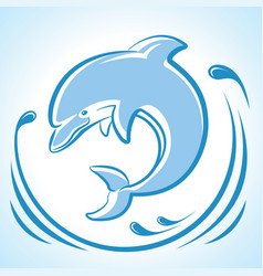 Dolphin jumping in water waves isolated on white vector