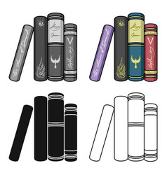standing books icon in cartoon style isolated on vector image