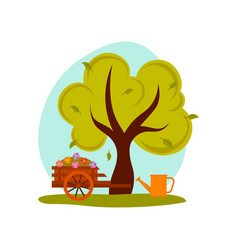 Spring or summer landscape green tree cart with vector