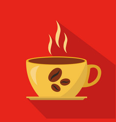 Cup of hot coffee cartoon flat icon brazil vector
