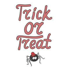 Cartoon word trick or treat and spider isolated vector