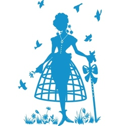 Charming shepherdess with a staff vector