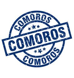 Comoros blue round grunge stamp vector