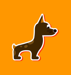 Paper sticker on stylish background dog smiles vector