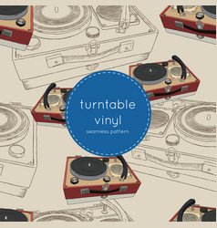 vintage turntable record player vinyl vector image
