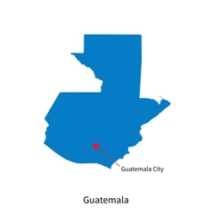 Detailed map of guatemala and capital city vector