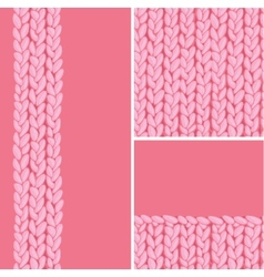 Pink set of three knit textile seamless patterns vector