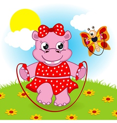 Hippo and butterfly jumping rope vector