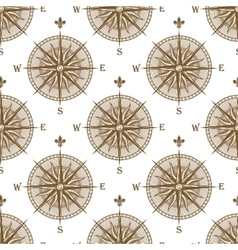 Vintage compass sign seamless pattern vector image