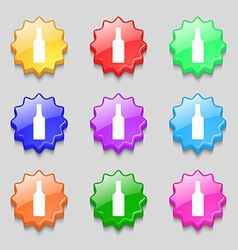 Bottle icon sign symbol on nine wavy colourful vector