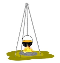 Caldron on campfires vector