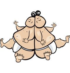 cartoon of gemini zodiac sign vector image