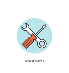 Mechanic tools lined iconweb services vector
