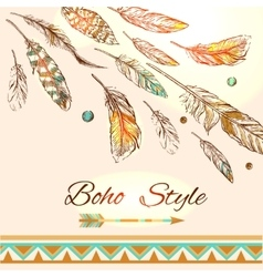 Feathers boho style vector