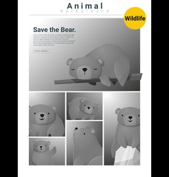 Animal background with bears 3 vector